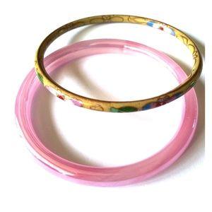 Jewelry - 1 Pink Glass & 1 Yellow Enamel Bracelet
